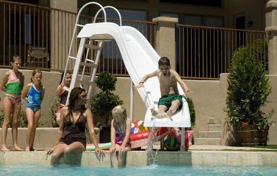 old style pool slide
